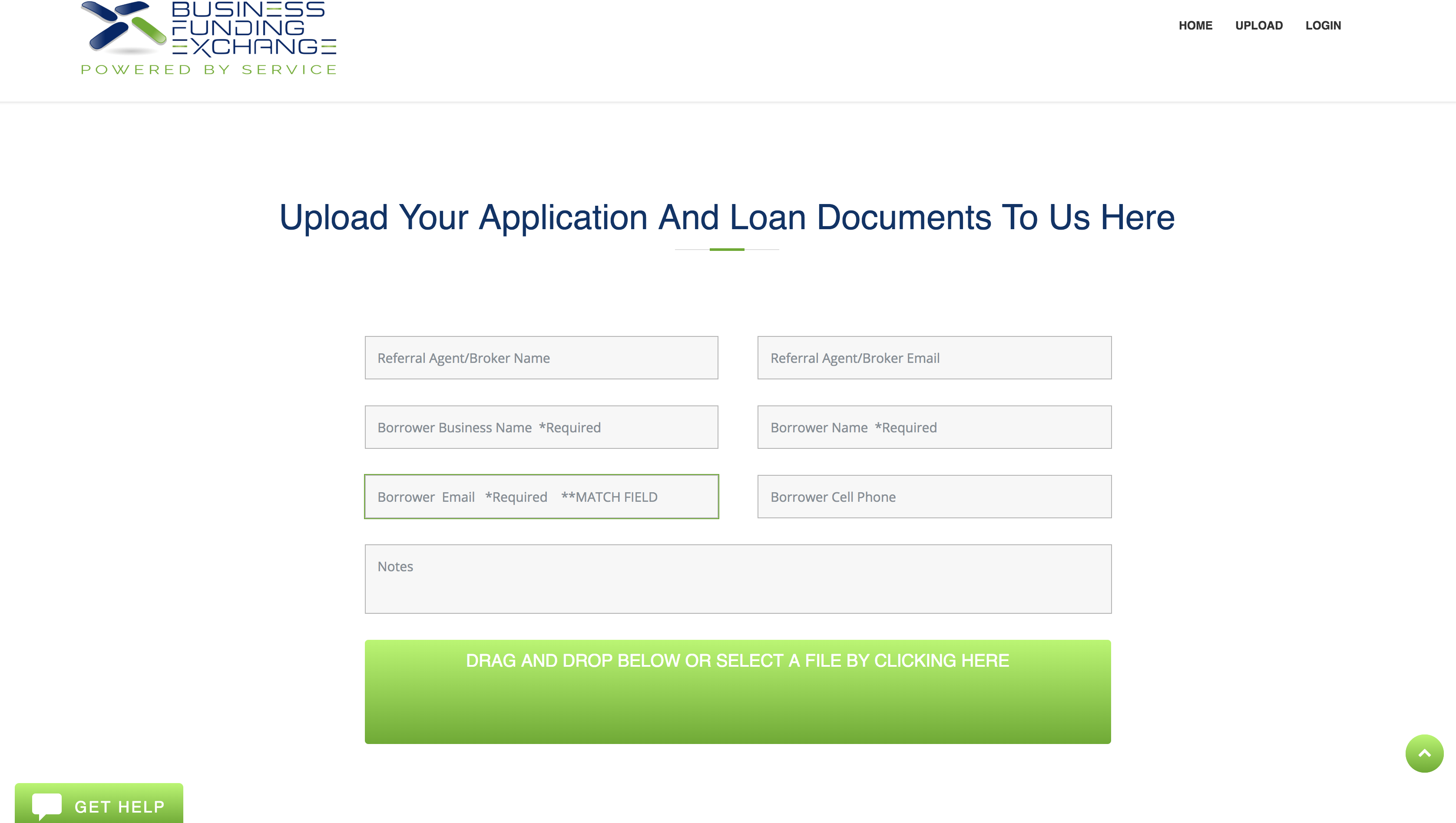Business Funding Exchange Portal Upload Documents
